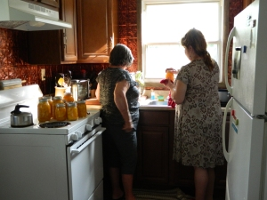 Peach Canning day right after buying our little home